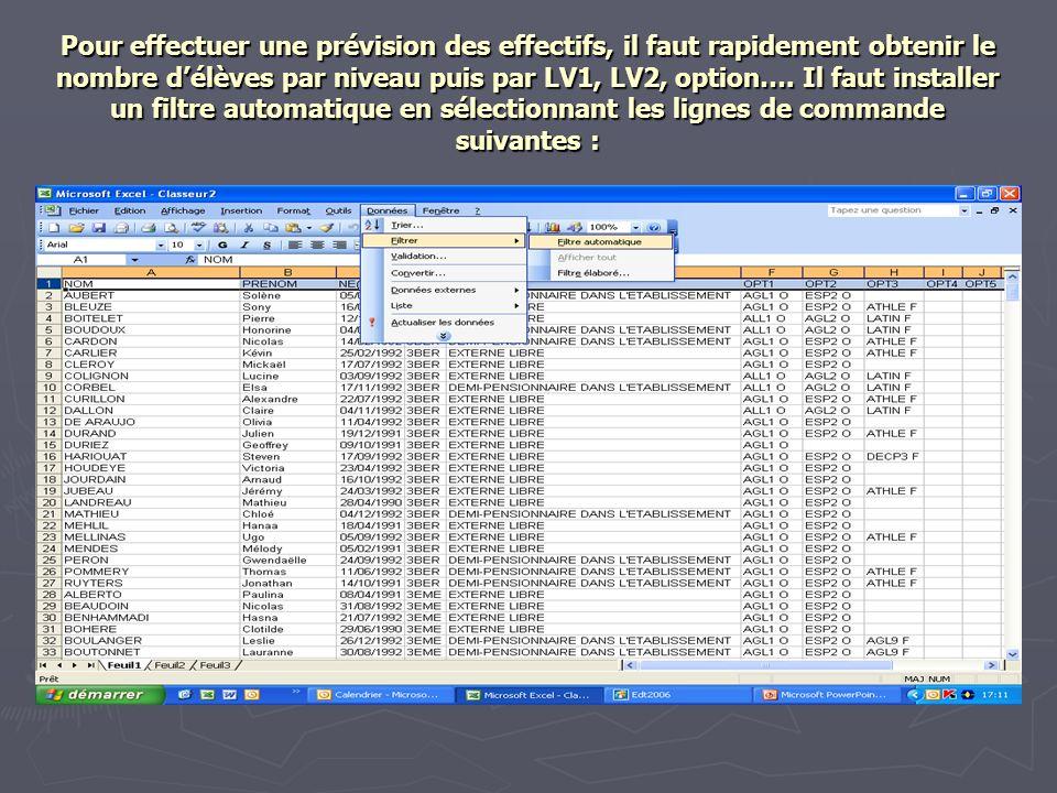 Pour effectuer une prévision des effectifs, il faut rapidement obtenir le nombre délèves par niveau puis par LV1, LV2, option….