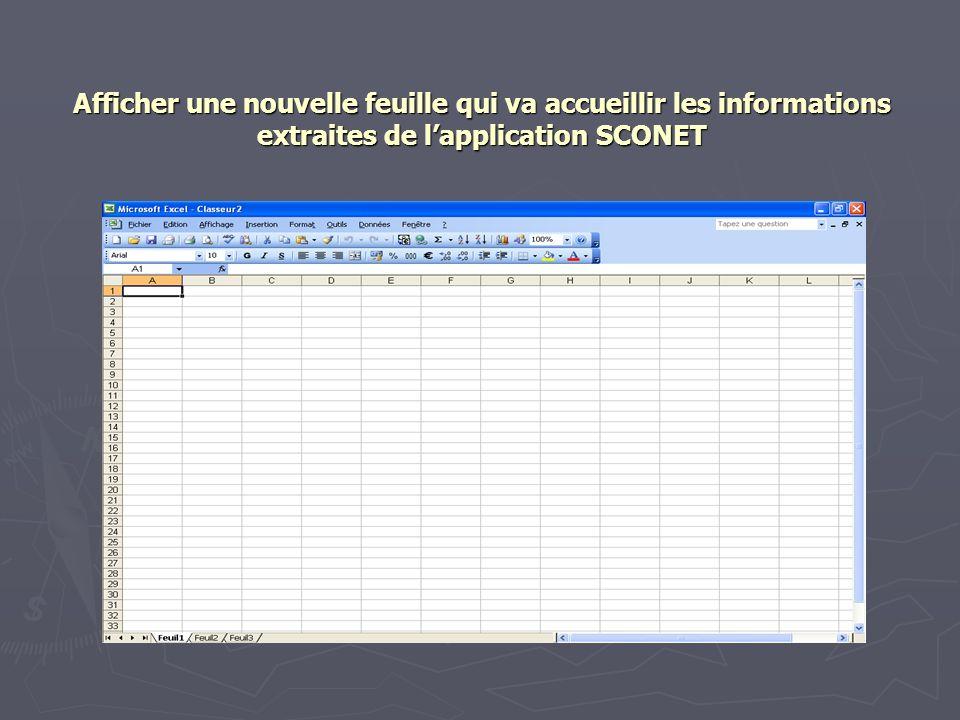 Afficher une nouvelle feuille qui va accueillir les informations extraites de lapplication SCONET