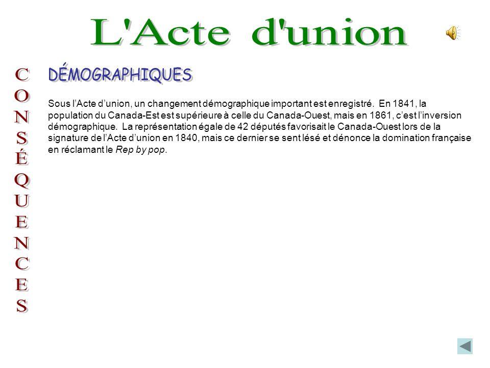 Sous lActe dunion, un changement démographique important est enregistré.