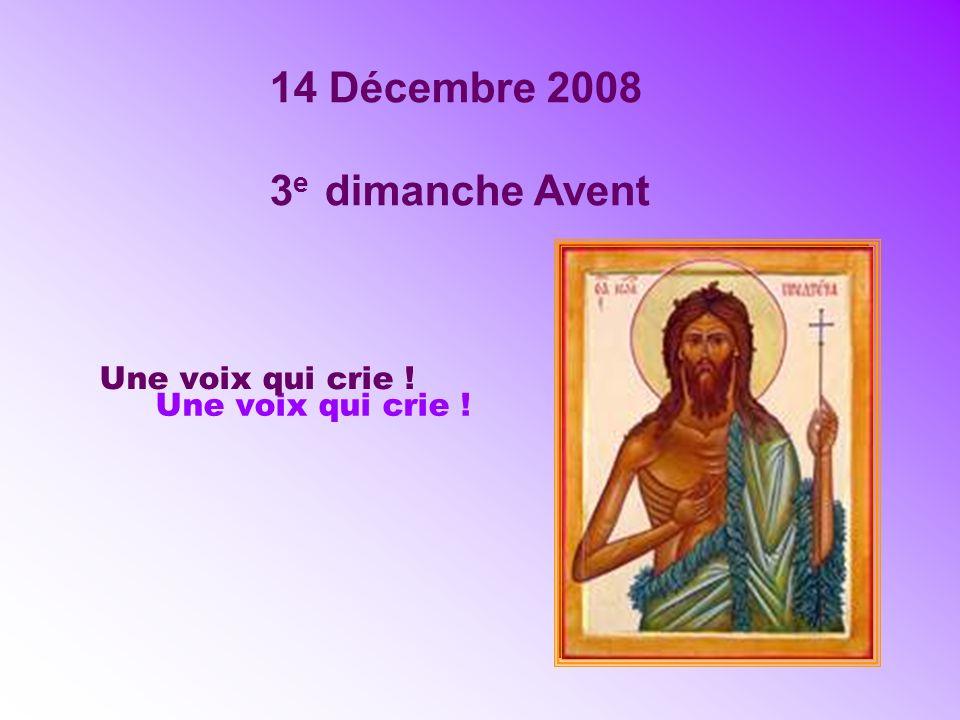 14 Décembre 2008 3 e dimanche Avent Une voix qui crie !