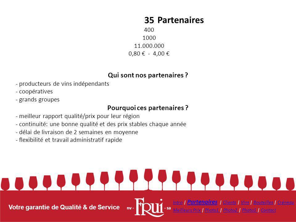 Votre garantie de Qualité & de Service 35 400 1000 11.000.000 0,80 - 4,00 Partenaires Qui sont nos partenaires ? - producteurs de vins indépendants -