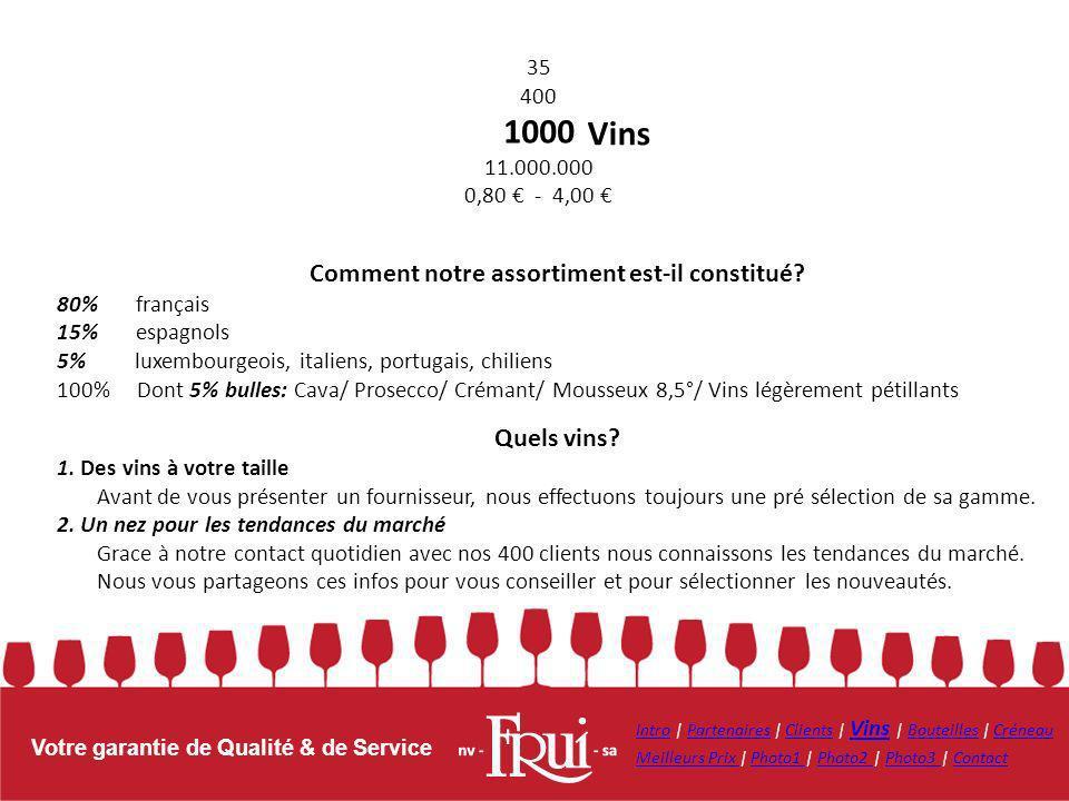 Votre garantie de Qualité & de Service Vins Comment notre assortiment est-il constitué? 80% français 15% espagnols 5% luxembourgeois, italiens, portug