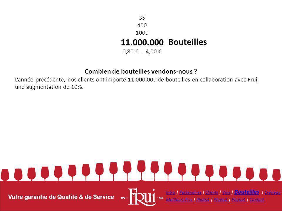 Votre garantie de Qualité & de Service Bouteilles Combien de bouteilles vendons-nous ? Lannée précédente, nos clients ont importé 11.000.000 de boutei