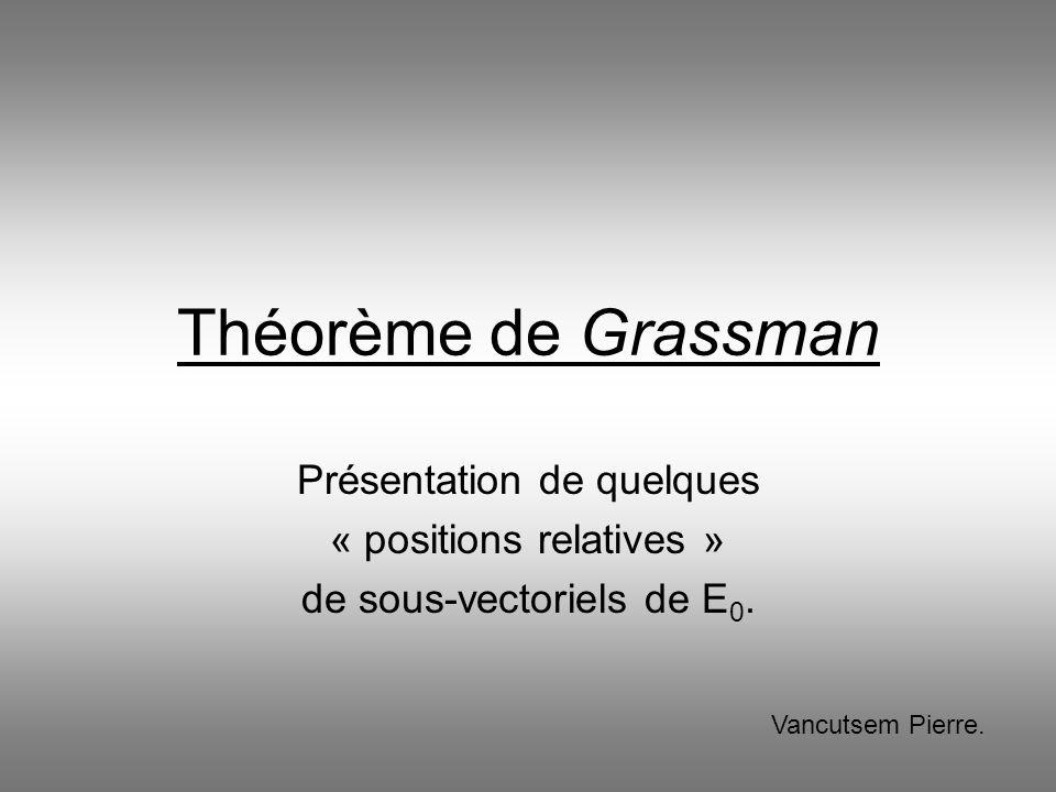Théorème de Grassman Présentation de quelques « positions relatives » de sous-vectoriels de E 0. Vancutsem Pierre.