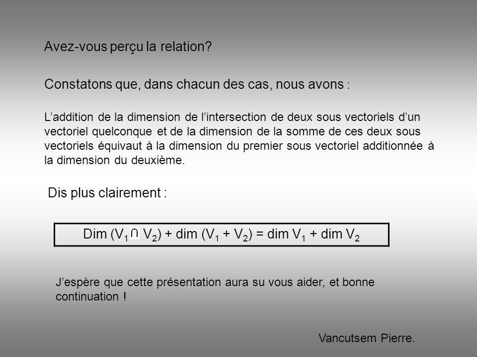 Dim (V 1 V 2 ) + dim (V 1 + V 2 ) = dim V 1 + dim V 2 Avez-vous perçu la relation? Laddition de la dimension de lintersection de deux sous vectoriels