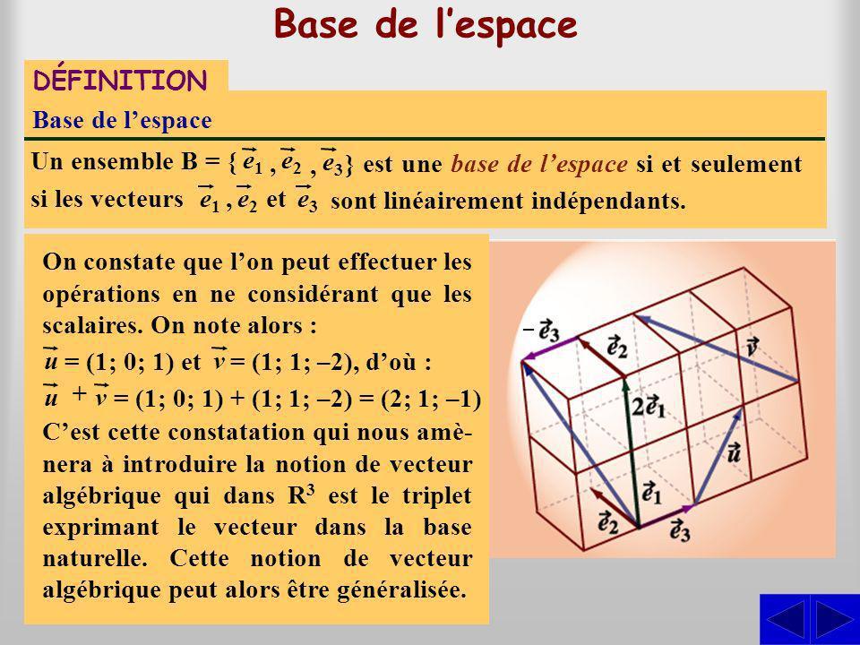 Base de lespace DÉFINITION Base de lespace } est une base de lespace si et seulement si les vecteurs Un ensemble B = { e1e1 sont linéairement indépendants.