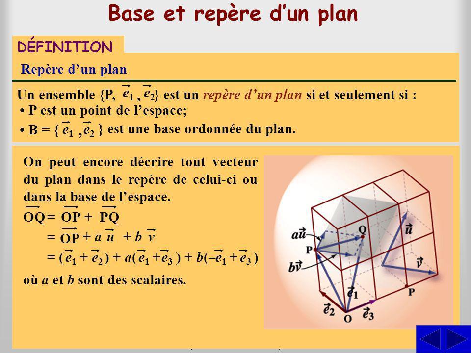 Base et repère dun plan } est une base dun plan si et seulement si les vecteurs Base dun plan Un ensemble B = { e1e1 sont linéairement indépendants.