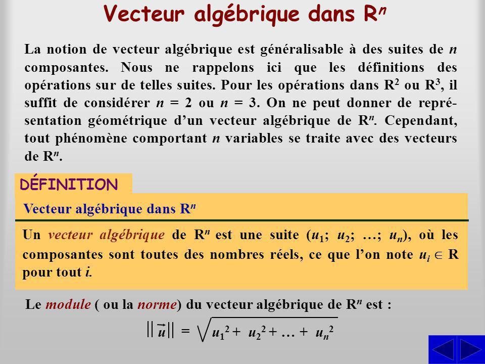 Vecteur algébrique dans R n DÉFINITION Vecteur algébrique dans R n Un vecteur algébrique de R n est une suite (u 1 ; u 2 ; …; u n ), où les composantes sont toutes des nombres réels, ce que lon note u i R pour tout i.