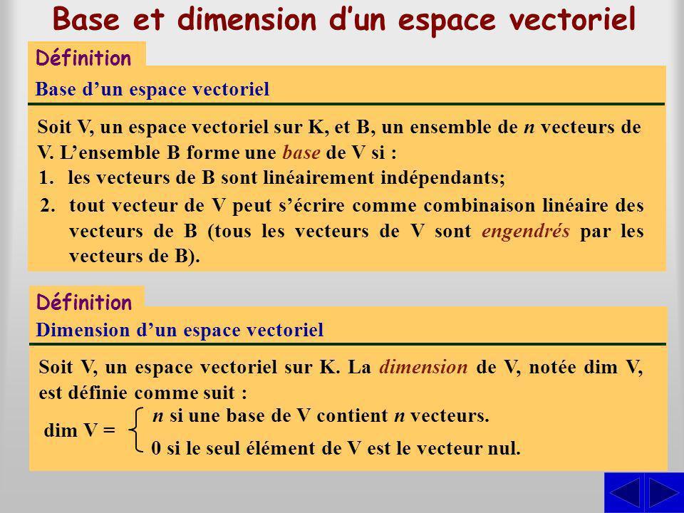 Base et dimension dun espace vectoriel Définition Base dun espace vectoriel Soit V, un espace vectoriel sur K, et B, un ensemble de n vecteurs de V.