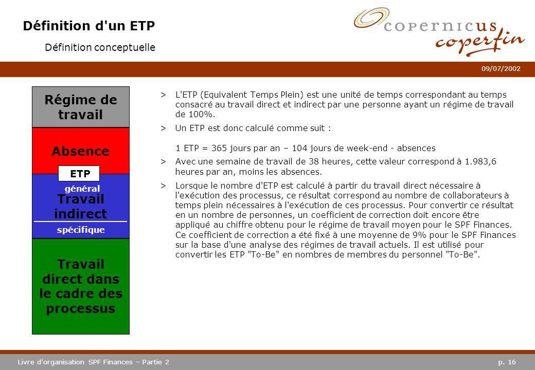 p. 16Livre dorganisation SPF Finances – Partie 2 09/07/2002 Définition d'un ETP >L'ETP (Equivalent Temps Plein) est une unité de temps correspondant a