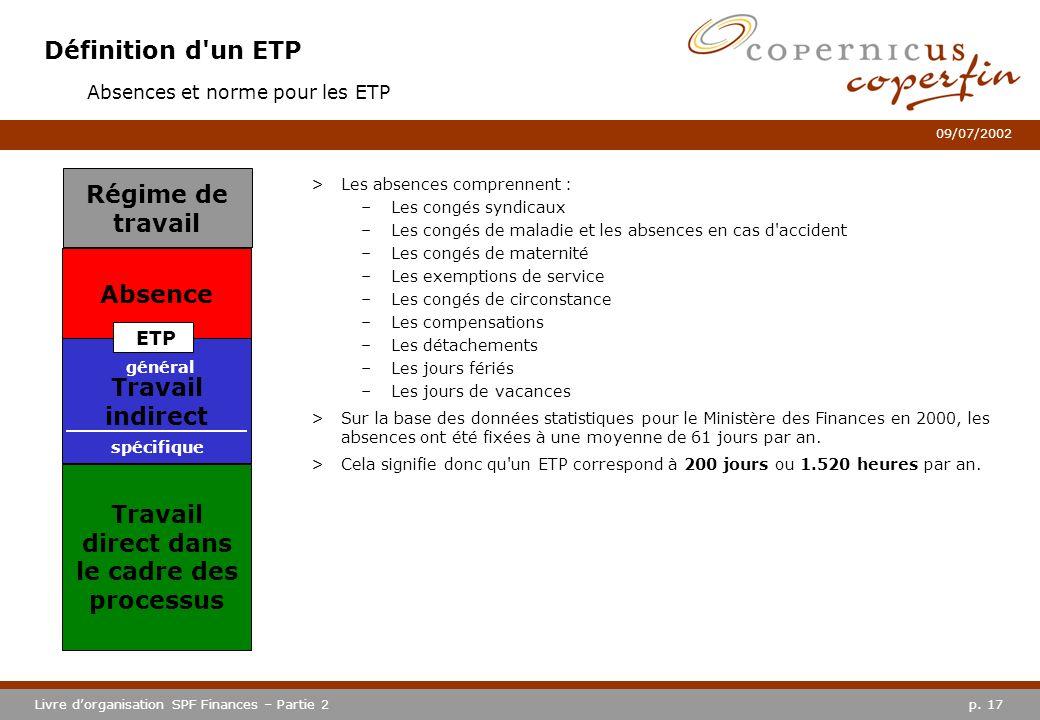 p. 17Livre dorganisation SPF Finances – Partie 2 09/07/2002 Définition d'un ETP >Les absences comprennent : –Les congés syndicaux –Les congés de malad