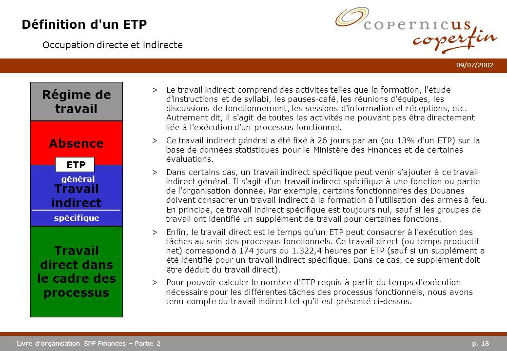 p. 18Livre dorganisation SPF Finances – Partie 2 09/07/2002 Définition d'un ETP >Le travail indirect comprend des activités telles que la formation, l