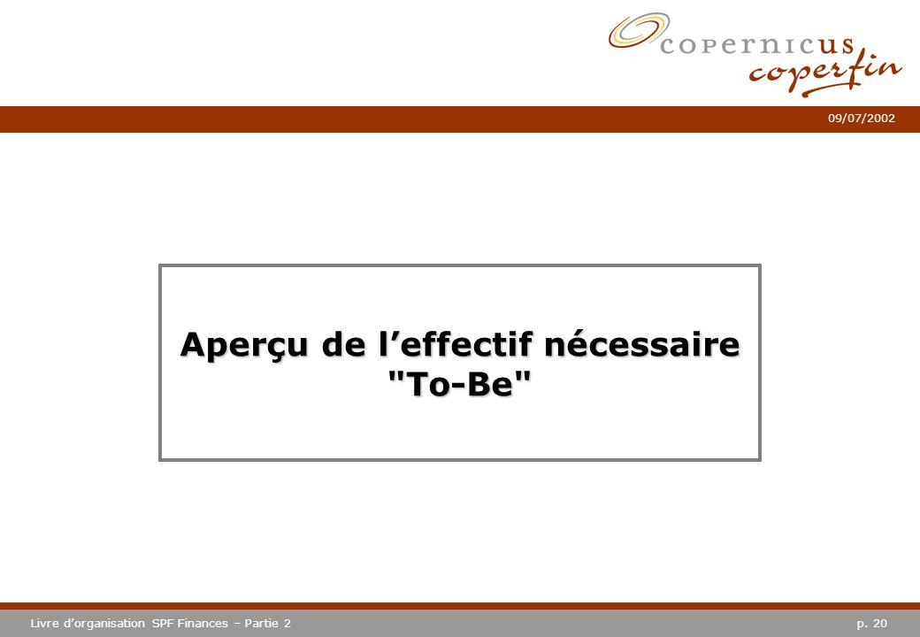 p. 20Livre dorganisation SPF Finances – Partie 2 09/07/2002 Aperçu de leffectif nécessaire