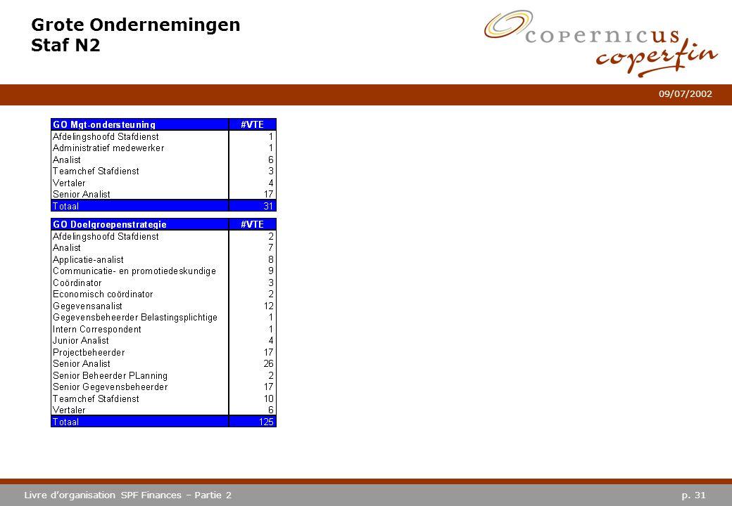 p. 31Livre dorganisation SPF Finances – Partie 2 09/07/2002 Grote Ondernemingen Staf N2
