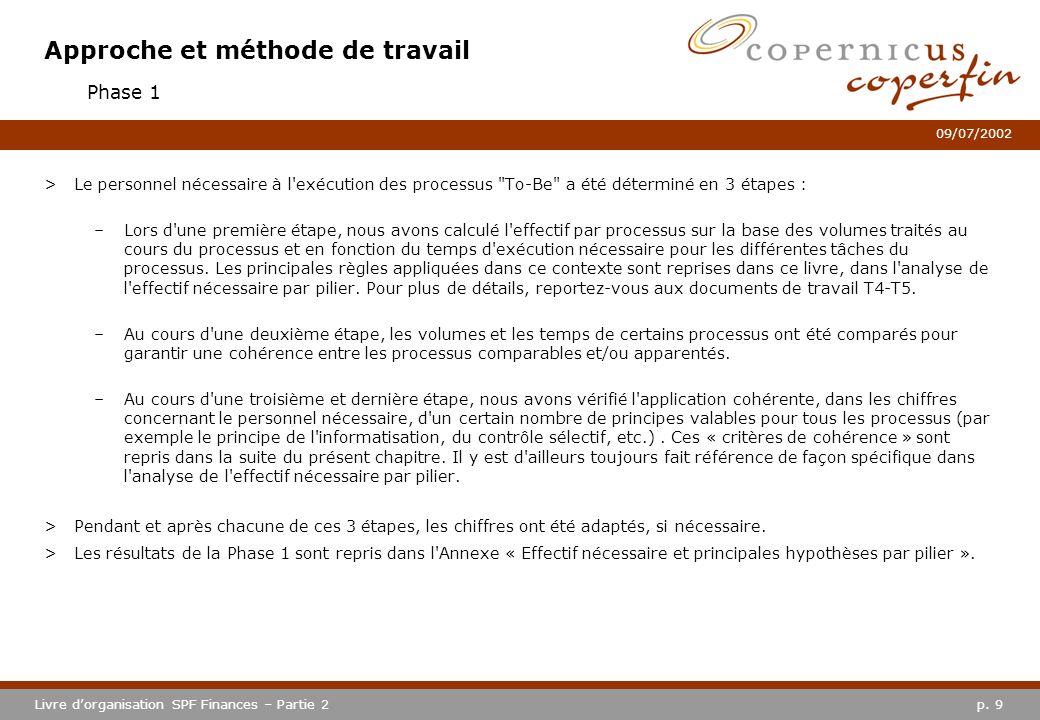 p. 9Livre dorganisation SPF Finances – Partie 2 09/07/2002 Approche et méthode de travail >Le personnel nécessaire à l'exécution des processus
