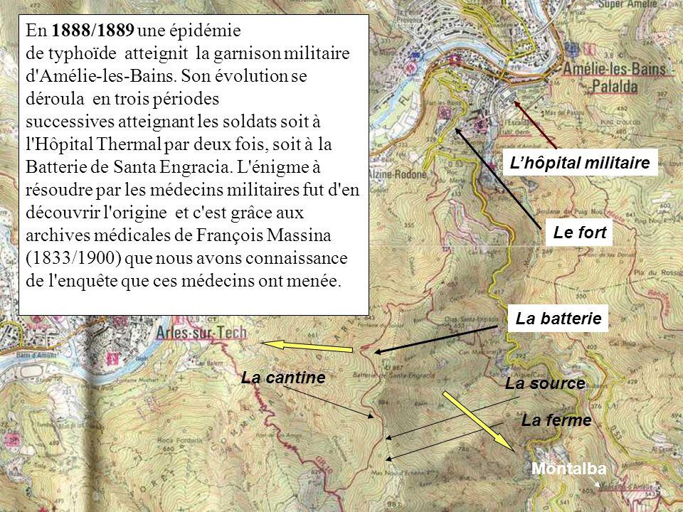 La cantine Le fort La source La batterie Lhôpital militaire En 1888/1889 une épidémie de typhoïde atteignit la garnison militaire d'Amélie-les-Bains.