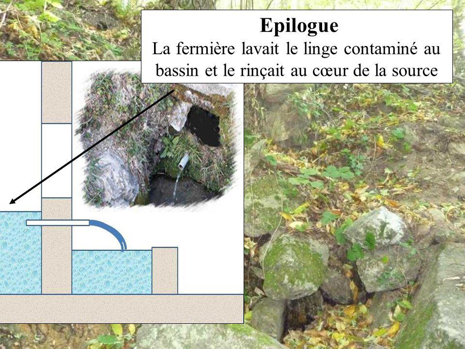 Epilogue La fermière lavait le linge contaminé au bassin et le rinçait au cœur de la source