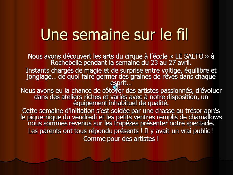 Une semaine sur le fil Nous avons découvert les arts du cirque à lécole « LE SALTO » à Rochebelle pendant la semaine du 23 au 27 avril.