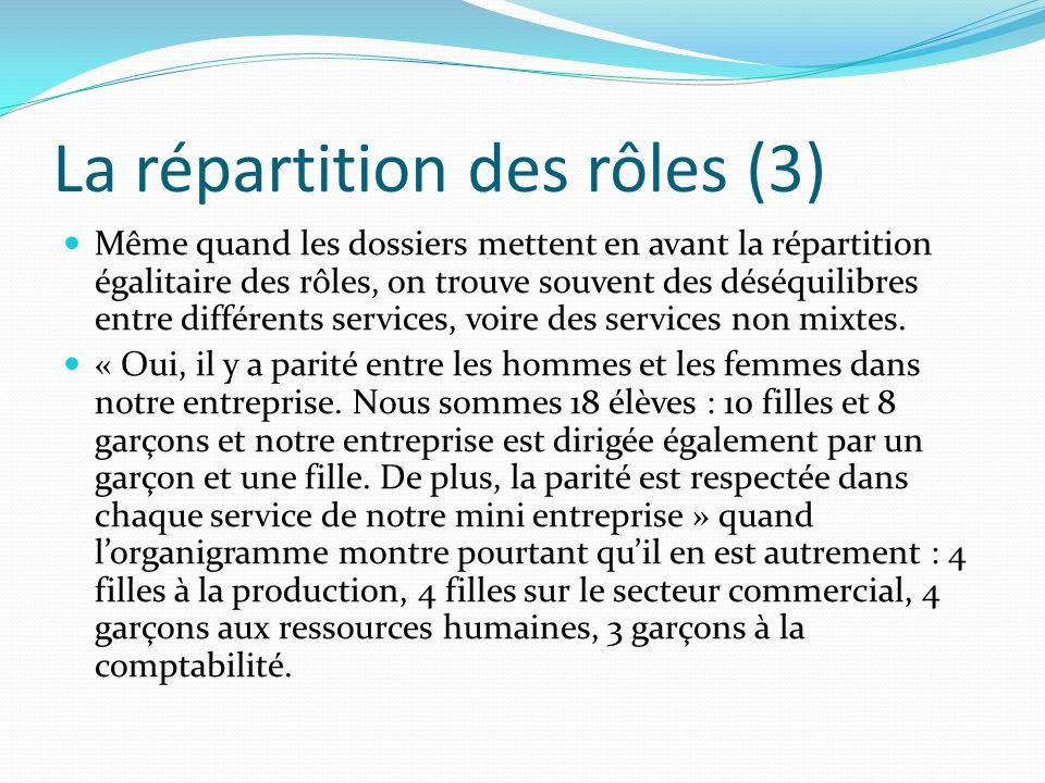 La répartition des rôles (3) Même quand les dossiers mettent en avant la répartition égalitaire des rôles, on trouve souvent des déséquilibres entre d