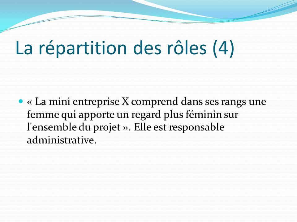 La répartition des rôles (4) « La mini entreprise X comprend dans ses rangs une femme qui apporte un regard plus féminin sur l'ensemble du projet ». E