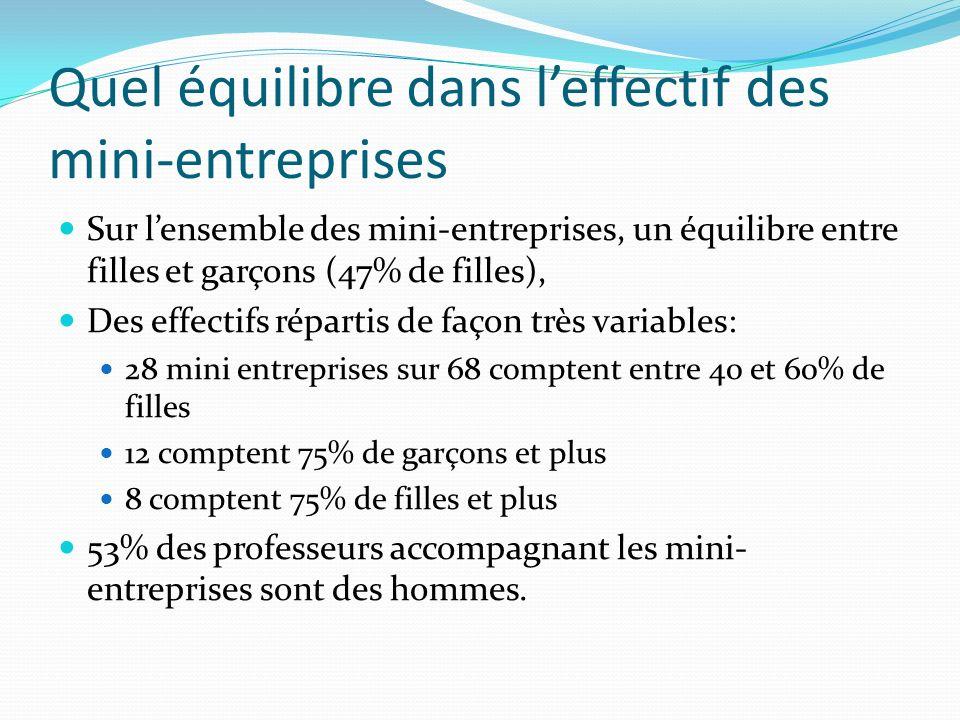 Quel équilibre dans leffectif des mini-entreprises Sur lensemble des mini-entreprises, un équilibre entre filles et garçons (47% de filles), Des effec