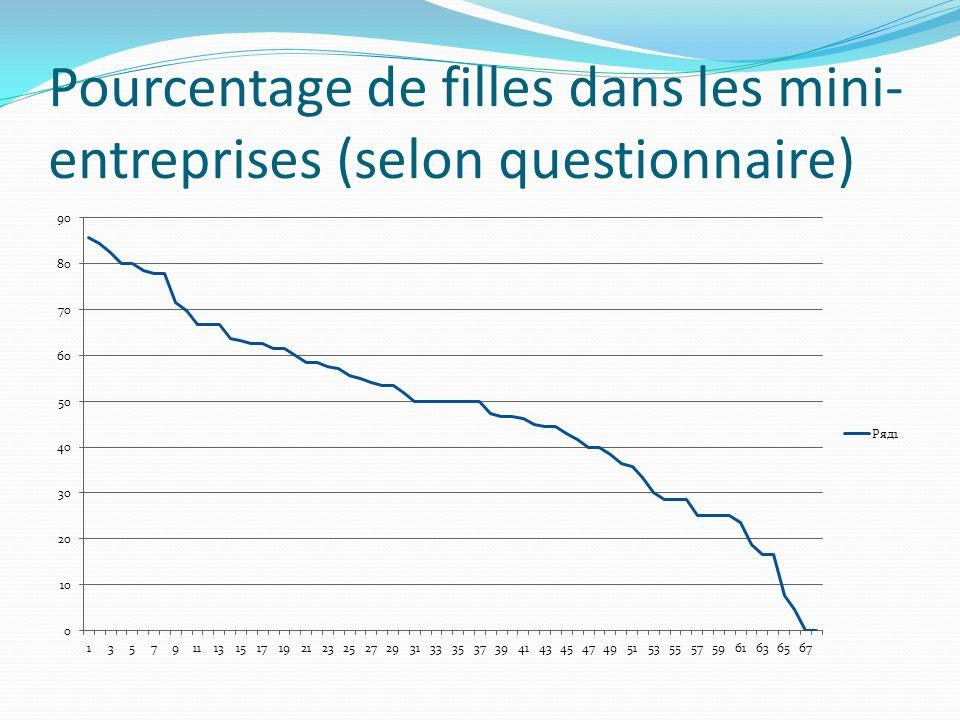 Pourcentage de filles dans les mini- entreprises (selon questionnaire)