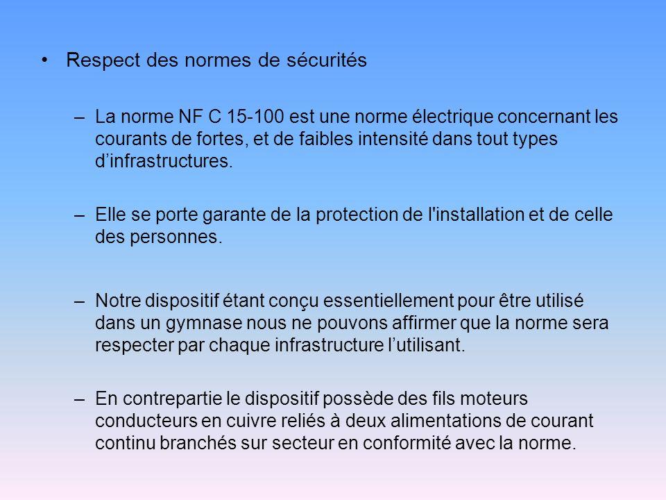 Respect des normes de sécurités –La norme NF C 15-100 est une norme électrique concernant les courants de fortes, et de faibles intensité dans tout ty