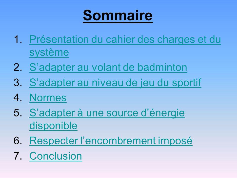 Sommaire 1.Présentation du cahier des charges et du systèmePrésentation du cahier des charges et du système 2.Sadapter au volant de badmintonSadapter