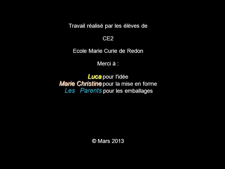 Travail réalisé par les élèves de CE2 Ecole Marie Curie de Redon Merci à : Luca Luca pour l'idée Marie Christine Marie Christine pour la mise en forme