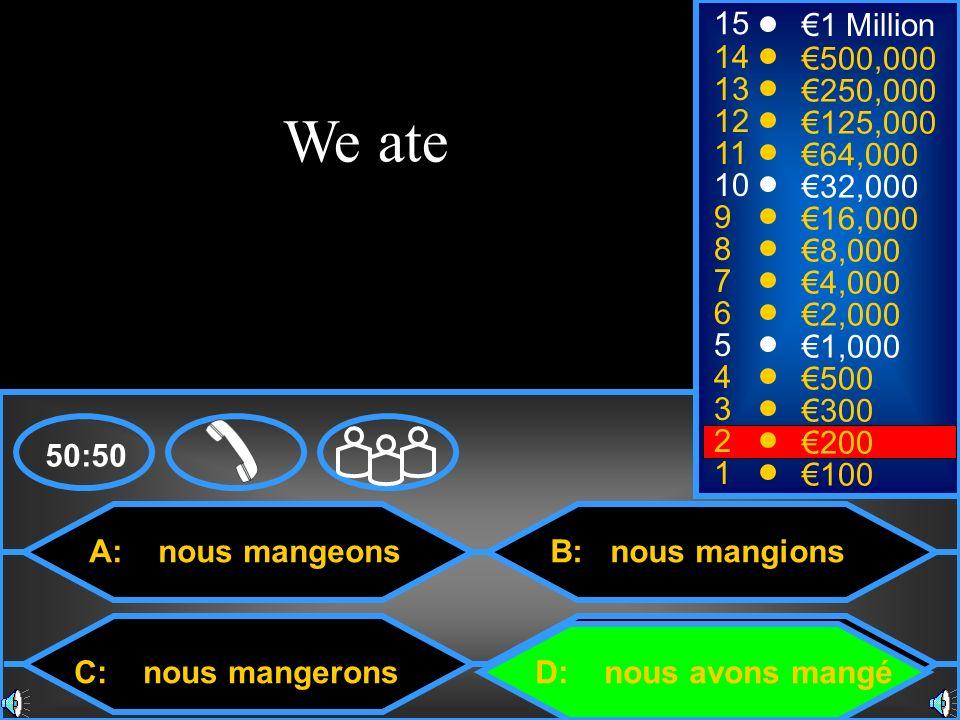 A: nous mangeons C: nous mangerons B: nous mangions D: nous avons mangé 50:50 15 14 13 12 11 10 9 8 7 6 5 4 3 2 1 1 Million 500,000 250,000 125,000 64,000 32,000 16,000 8,000 4,000 2,000 1,000 500 300 200 100 We ate
