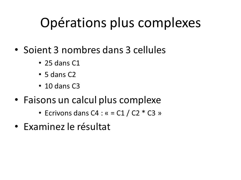 Opérations plus complexes Soient 3 nombres dans 3 cellules 25 dans C1 5 dans C2 10 dans C3 Faisons un calcul plus complexe Ecrivons dans C4 : « = C1 / C2 * C3 » Examinez le résultat