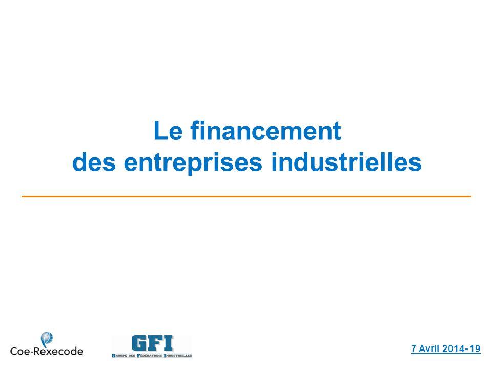 Le financement des entreprises industrielles 7 Avril 2014- 19