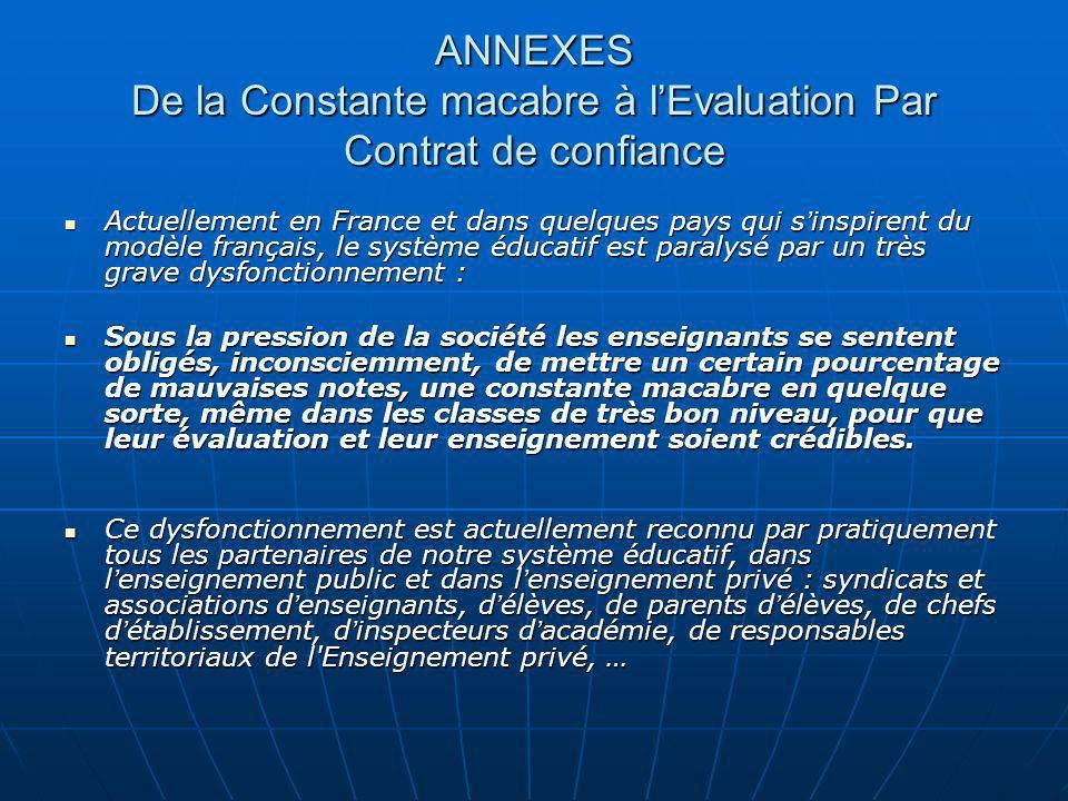 ANNEXES De la Constante macabre à lEvaluation Par Contrat de confiance Actuellement en France et dans quelques pays qui s inspirent du modèle français