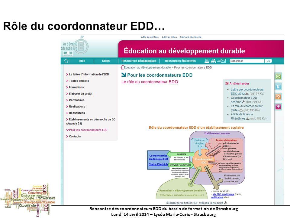 Rencontre des coordonnateurs EDD du bassin de formation de Strasbourg Lundi 14 avril 2014 – Lycée Marie-Curie - Strasbourg Rôle du coordonnateur EDD…