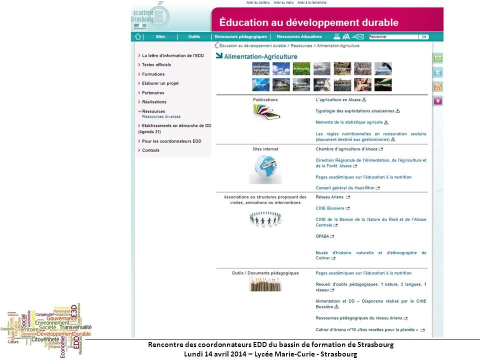 Rencontre des coordonnateurs EDD du bassin de formation de Strasbourg Lundi 14 avril 2014 – Lycée Marie-Curie - Strasbourg