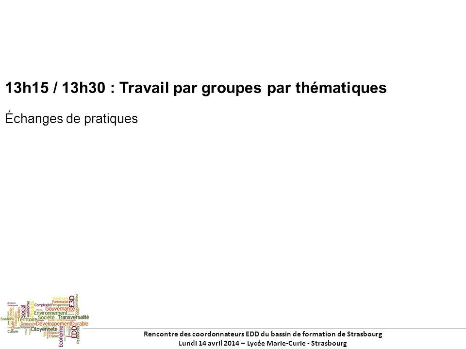 Rencontre des coordonnateurs EDD du bassin de formation de Strasbourg Lundi 14 avril 2014 – Lycée Marie-Curie - Strasbourg 13h15 / 13h30 : Travail par groupes par thématiques Échanges de pratiques