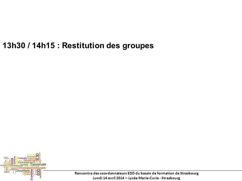 Rencontre des coordonnateurs EDD du bassin de formation de Strasbourg Lundi 14 avril 2014 – Lycée Marie-Curie - Strasbourg 13h30 / 14h15 : Restitution des groupes