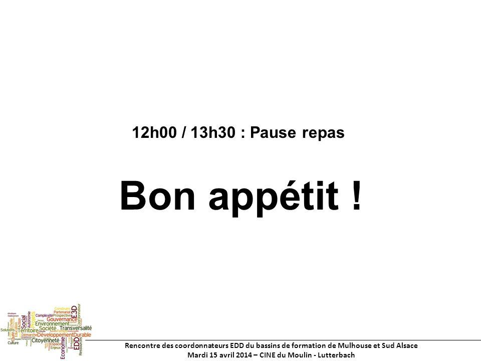 Rencontre des coordonnateurs EDD du bassins de formation de Mulhouse et Sud Alsace Mardi 15 avril 2014 – CINE du Moulin - Lutterbach 12h00 / 13h30 : Pause repas Bon appétit !