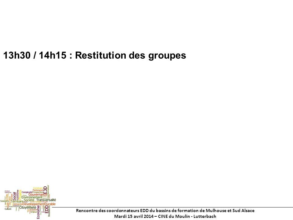 Rencontre des coordonnateurs EDD du bassins de formation de Mulhouse et Sud Alsace Mardi 15 avril 2014 – CINE du Moulin - Lutterbach 13h30 / 14h15 : Restitution des groupes