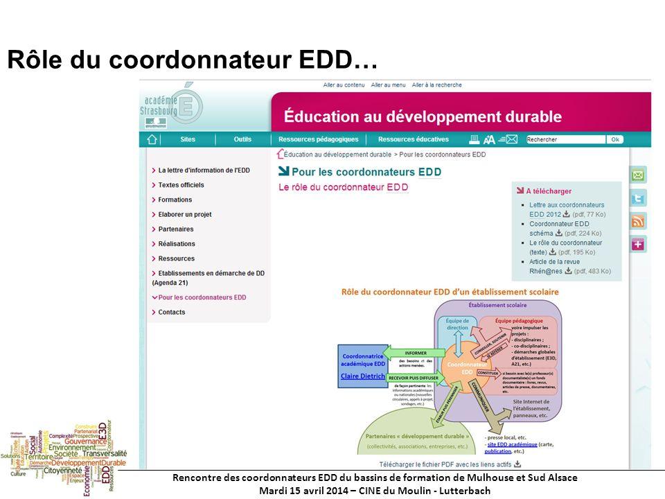 Rencontre des coordonnateurs EDD du bassins de formation de Mulhouse et Sud Alsace Mardi 15 avril 2014 – CINE du Moulin - Lutterbach Rôle du coordonnateur EDD…