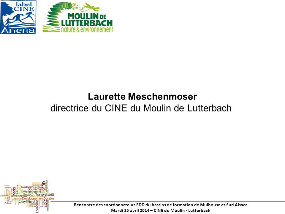 Rencontre des coordonnateurs EDD du bassins de formation de Mulhouse et Sud Alsace Mardi 15 avril 2014 – CINE du Moulin - Lutterbach Laurette Meschenmoser directrice du CINE du Moulin de Lutterbach