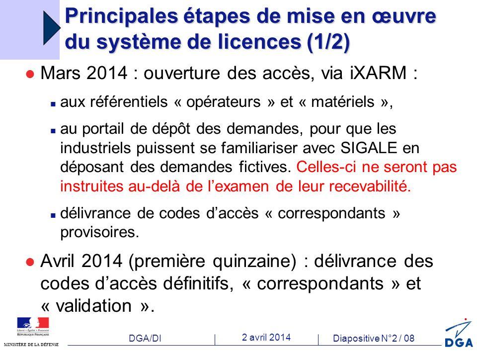 DGA/DI 2 avril 2014 Diapositive N°2 / 08 MINISTÈRE DE LA DÉFENSE Principales étapes de mise en œuvre du système de licences (1/2) Mars 2014 : ouverture des accès, via iXARM : aux référentiels « opérateurs » et « matériels », au portail de dépôt des demandes, pour que les industriels puissent se familiariser avec SIGALE en déposant des demandes fictives.