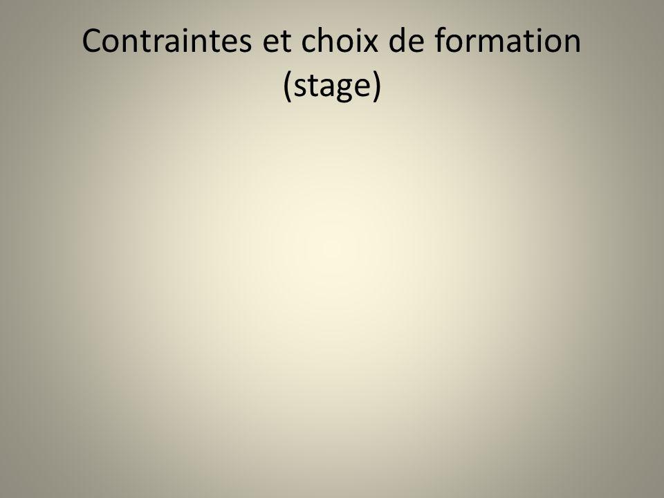 Contraintes et choix de formation (stage)