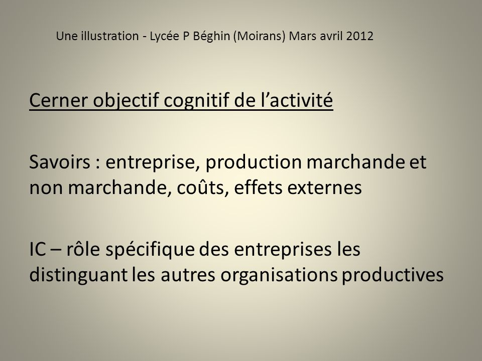 Une illustration - Lycée P Béghin (Moirans) Mars avril 2012 Cerner objectif cognitif de lactivité Savoirs : entreprise, production marchande et non ma
