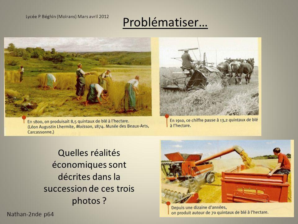Problématiser… Lycée P Béghin (Moirans) Mars avril 2012 Quelles réalités économiques sont décrites dans la succession de ces trois photos ? Nathan-2nd