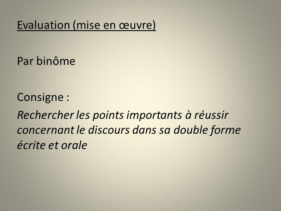Evaluation (mise en œuvre) Par binôme Consigne : Rechercher les points importants à réussir concernant le discours dans sa double forme écrite et oral