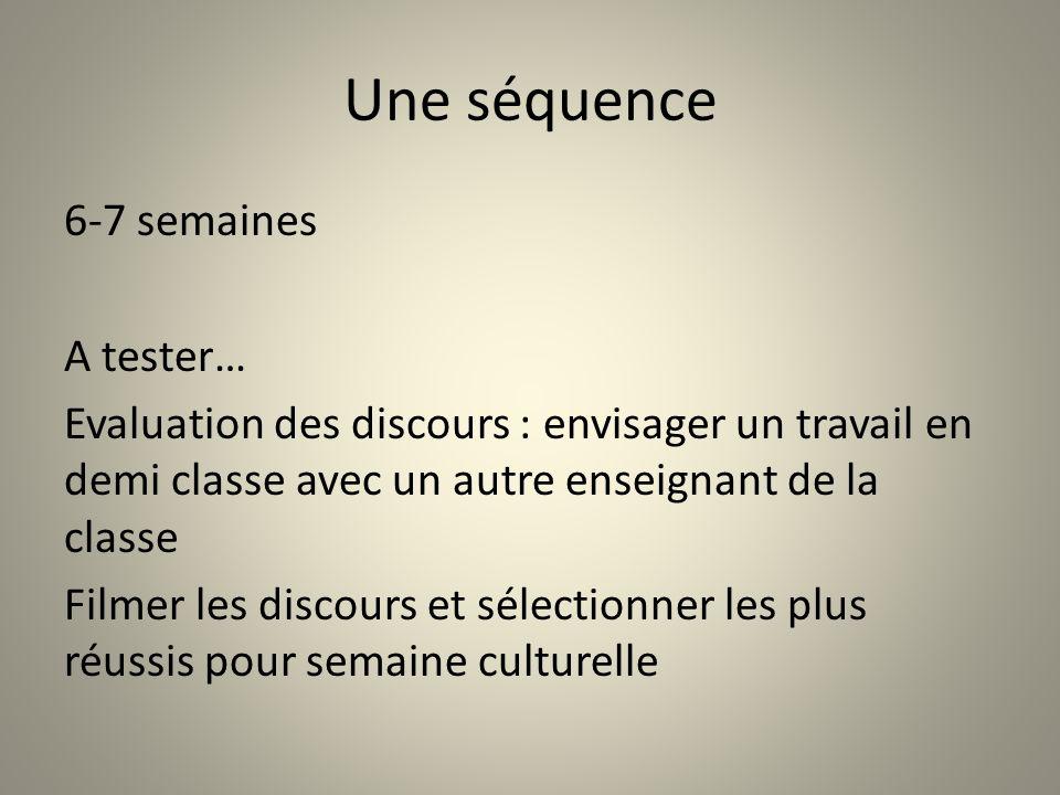 Une séquence 6-7 semaines A tester… Evaluation des discours : envisager un travail en demi classe avec un autre enseignant de la classe Filmer les dis