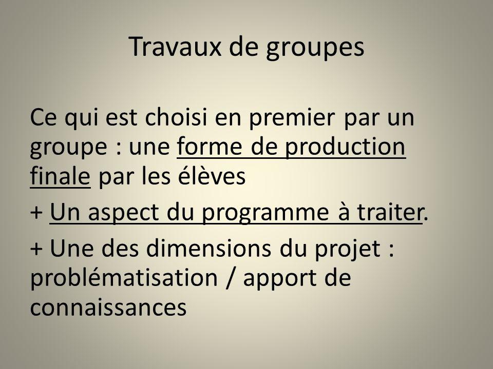Travaux de groupes Ce qui est choisi en premier par un groupe : une forme de production finale par les élèves + Un aspect du programme à traiter. + Un