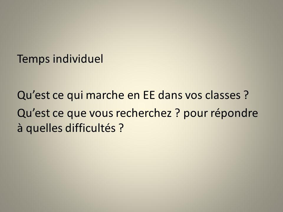 Temps individuel Quest ce qui marche en EE dans vos classes ? Quest ce que vous recherchez ? pour répondre à quelles difficultés ?