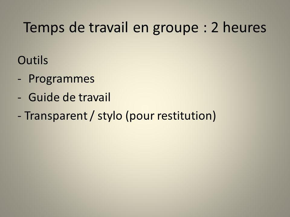 Temps de travail en groupe : 2 heures Outils -Programmes -Guide de travail - Transparent / stylo (pour restitution)